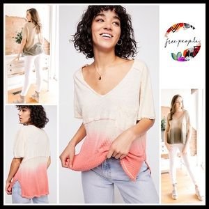 FREE PEOPLE V-NECK TOP KNIT POCKET OMBRE TEE